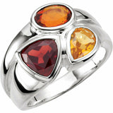 Sterling Silver Mozambique Garnet Madeira Citrine & Citrine Ring Size 7 New