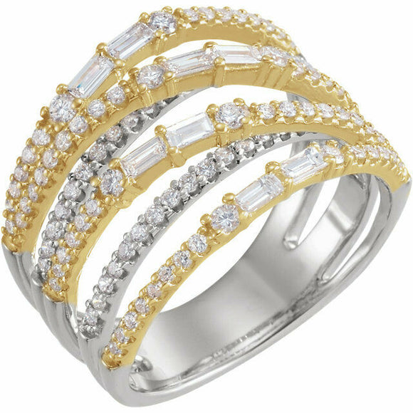 1 Carat Diamond White and Yellow Gold Crisscross Negative Space Ring Sizeable