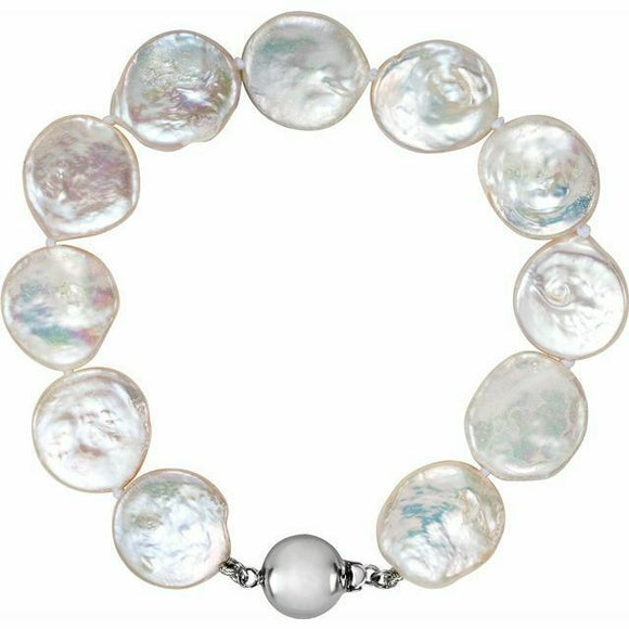 Sterling Silver White Freshwater Cultured Coin Pearl Strand Bracelet NEW 7.75 In