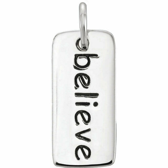 Silver Believe Tag Charm Solid Sterling with Jump Ring New in Box Made in USA