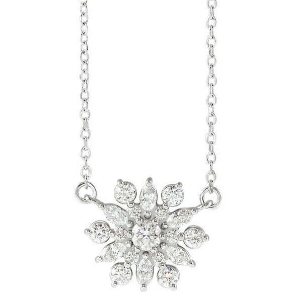 Diamond Snowflake Necklace White Gold 14K Solid New 1/2 Carat Vintage Inspired
