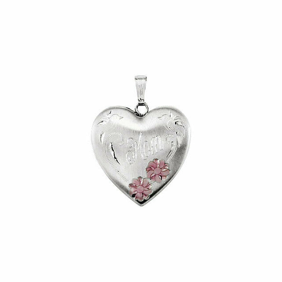 Mom Double Flower Heart Locket Sterling Silver