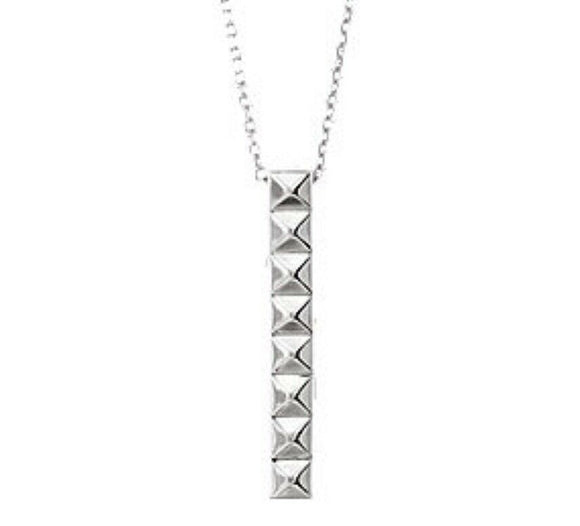 Pyramid Bar Necklace Sterling Silver Pendant Vertical Bar