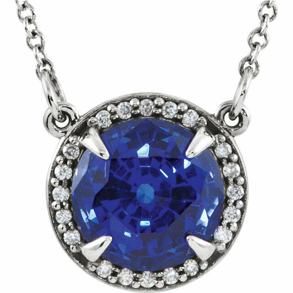 Sapphire Diamond Halo Pendant White Gold September Birthstone New In Box