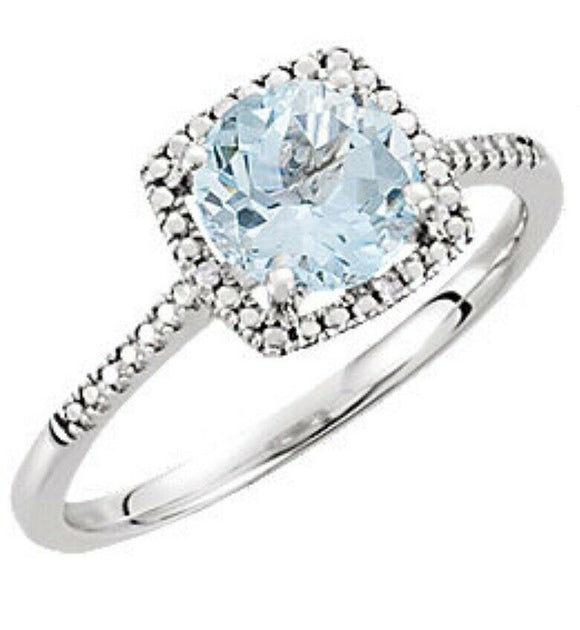 Sky Blue Topaz Diamond Halo Ring 7 Sizeable
