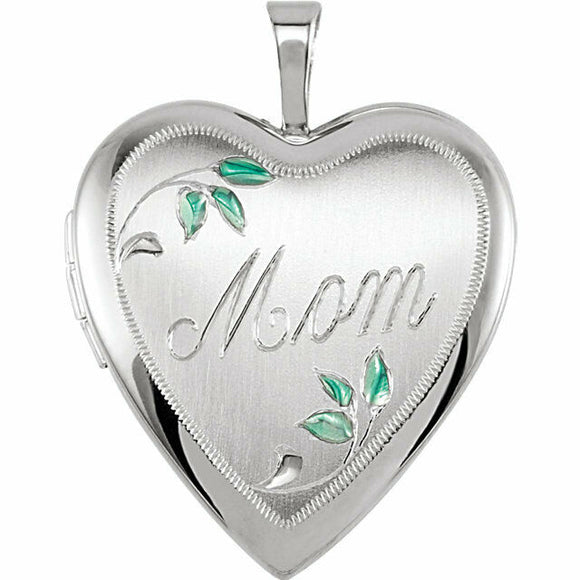 Mom Heart Locket Sterling Silver Enamel Leaves