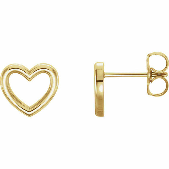 Yellow Gold Heart Outline Stud Earrings New in Box 14K Solid