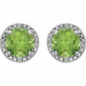 Genuine Peridot Diamond Halo Round Stud Earrings Sterling Silver NEW