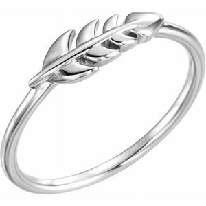 Leaf Ring White Gold New in Box Size 7 Sizeable 14K Solid