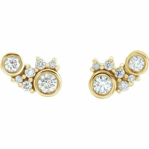 Diamond Cluster Stud Earrings Yellow Gold