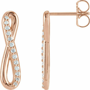 Diamond Rose Gold Infinity Drop Earrings