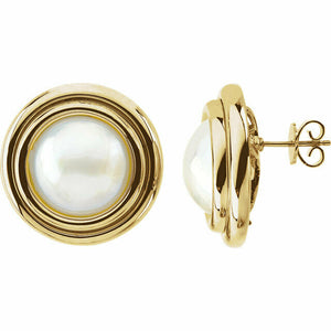 NEW Mabe Pearl Yellow Gold Button Stud Earring 14K 15mm Cultured USA Made White