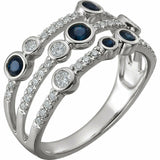 Sapphire and Diamond White Gold Ring Solid 14K Size 7 Sizeable