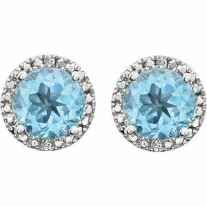 Genuine Sky Blue Topaz Diamond Halo Round Stud Earrings Sterling Silver NEW