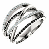 Black Diamond Ring With White Diamond White Gold Ring Crisscross Style