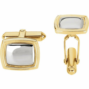 Square Two Tone White & Yellow 14K Gold Cuff Links