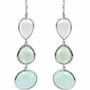 Rose Quartz Green Quartz Aqua Chalcedony Sterling Silver Dangle Earrings NEW