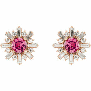 Genuine Pink Tourmaline and Diamond Rose Gold Starburst Halo Earrings 14K New
