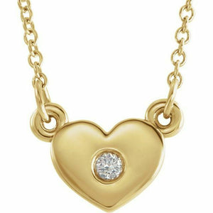 "Diamond Heart Pendant Necklace 16"" NEW Yellow Gold USA Made 14K Solid"