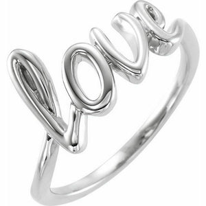 l o v e Ring White Gold NEW 14K Solid Size 7 Sizeable USA Made