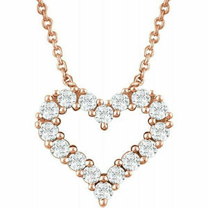 Diamond Heart Pendant Necklace Rose Gold NEW 14K 1/4 Carat USA Made 18""