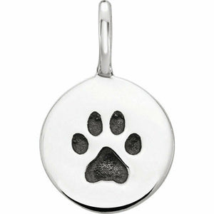 Sterling Silver Paw Print Disc Charm for Necklace or Bracelet New Made In USA