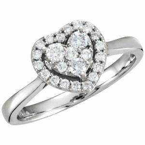 Halo Heart Diamond Engagement Ring White Gold Cluster Style Diamond Heart Ring