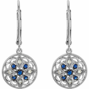 Blue Sapphire and Diamond Earrings Round Filigree Granulated Sterling Silver