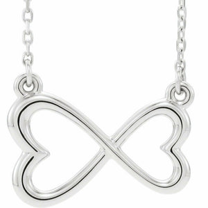 Infinity Horizontal Double Heart Necklace Sterling Silver NEW 18 Inch Solid
