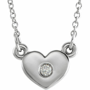 "Diamond Heart Pendant Necklace 16"" NEW White Gold USA Made"