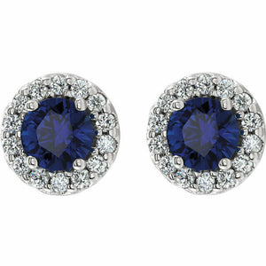Genuine Blue Sapphire and Diamond Halo Style Stud Earrings New in Box