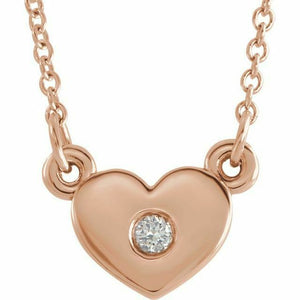 Diamond Heart Pendant Necklace Rose Gold 14K
