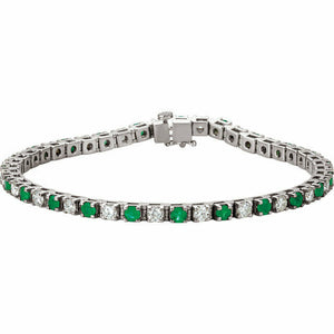 Genuine Emerald and Diamond White Gold Tennis Bracelet White Gold 14K A Quality