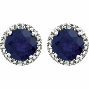 Blue Sapphire Diamond Halo Round Stud Earrings Sterling Silver NEW