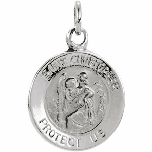 Saint Christopher Medal Protection Charm Pendant Sterling Silver Solid USA Made