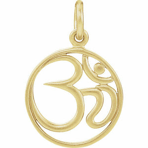 Ohm Charm Sterling Silver 24K Gold Plated New in Box Made in USA