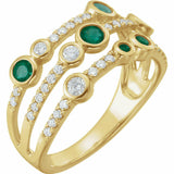 Emerald and Diamond Yellow Gold Negative Space Ring 14K Solid Size 7 Sizeable