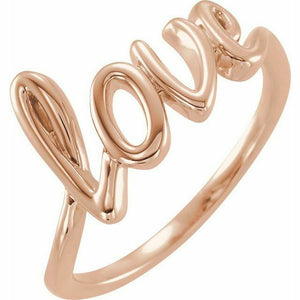 l o v e Ring Rose Gold NEW 14K Solid Size 7 Sizeable USA Made
