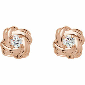 Diamond Rose Gold Knot Stud Earrings Genuine New Solid Round Full Cut