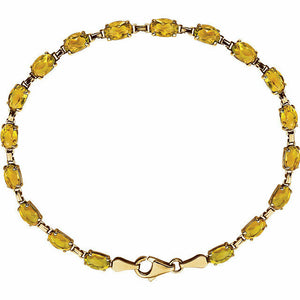 Genuine Citrine Line Bracelet 14K Yellow Gold