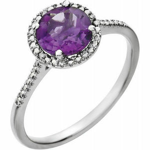 Genuine Amethyst Diamond Halo Ring Sterling Silver NEW Solid Size 7 Sizeable