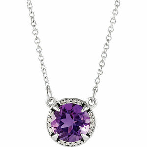 Amethyst Diamond Halo Pendant White Gold February Birthstone New In Box