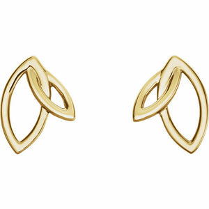 Double Leaf Earrings in Yellow Gold