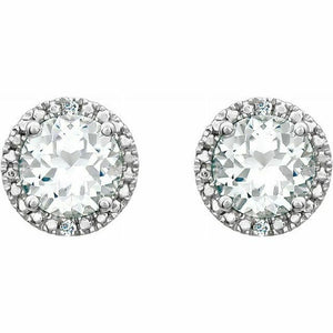 White Sapphire Diamond Halo Round Stud Earrings Sterling Silver NEW
