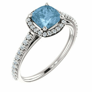 Blue Topaz & Diamond Halo Engagement Ring