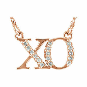 "XO Diamond Necklace Rose Gold Hugs and Kisses 16.5"" Solid Genuine"