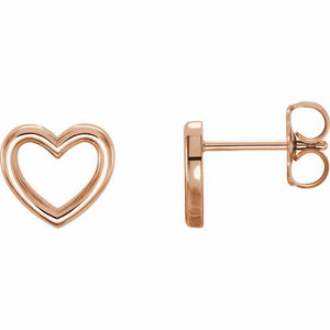 Rose Gold Heart Outline Stud Earrings New in Box 14K Solid
