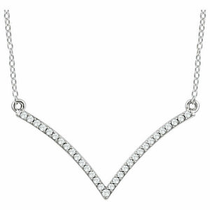 White Gold Diamond Necklace 1/6 CTW Diamond V Necklace Pave Diamond Modern