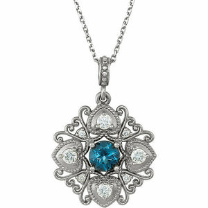 Vintage Inspired London Blue Topaz and Diamond Pendant Necklace NEW White Gold