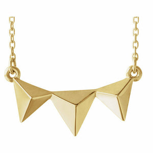 Yellow Gold Pyramid Necklace